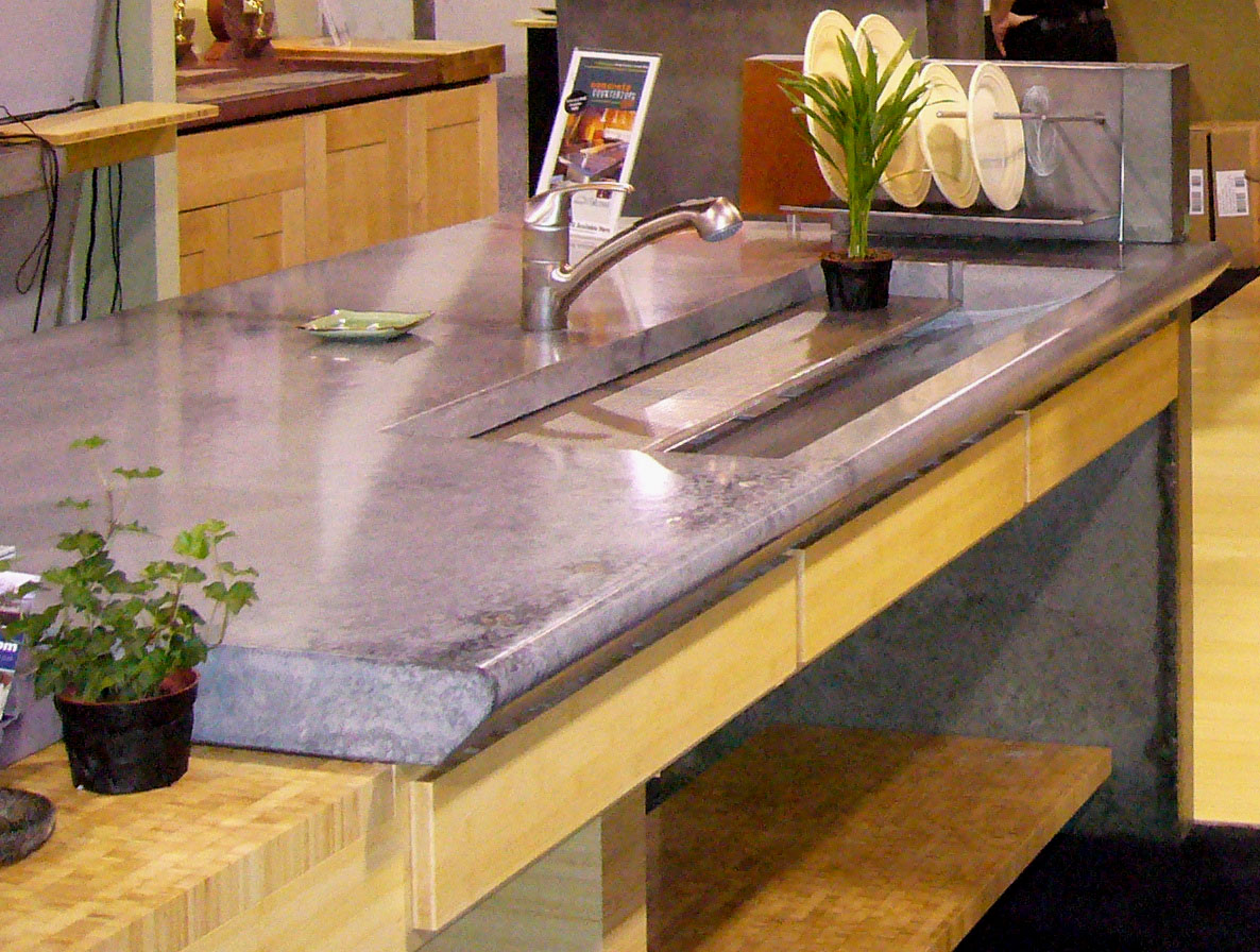 Concrete Countertop In The Cheng Concrete Exchange Booth At World Of  Concrete 2007Central Concrete Countertop In The Cheng Concrete Exchange  Booth At World ...