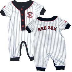 ca62aab23 Red Sox Baby Pin Stripe Sleeper This Boston Red Sox baby sleeper comes with  a logo on the front and across the back of the sleeper.