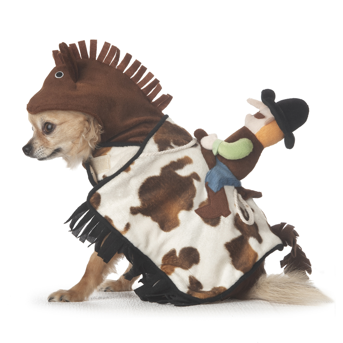 your dog will look at home home on the range when he dresses up as a horse with cowboy atop this innovative costume is rich with detail from