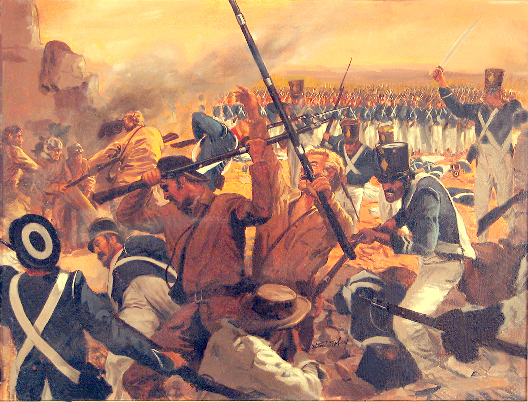 painting of soldiers fighting at the Alamo.
