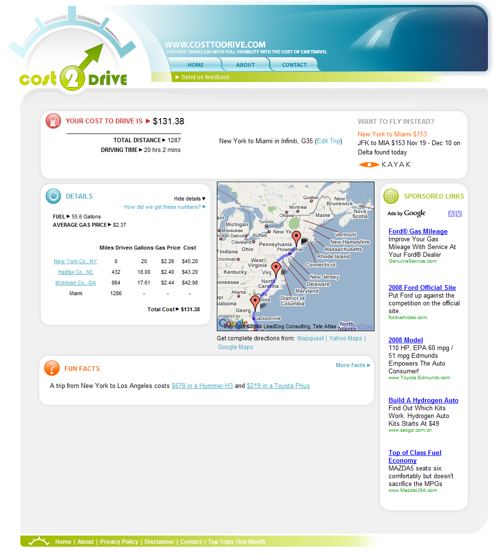 Cost2drive Logowww Costtodrive Results Pageresults Page For New York Ny To Miami