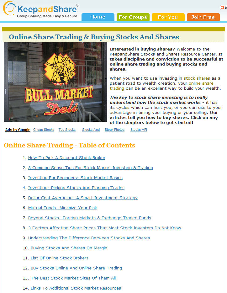 Free Stock Market Resource Center Offers Guidance on Share