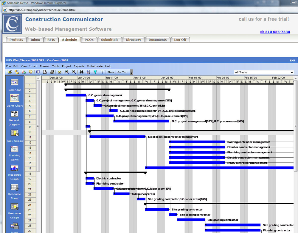 Construction management software integrates schedule for Construction site plan software