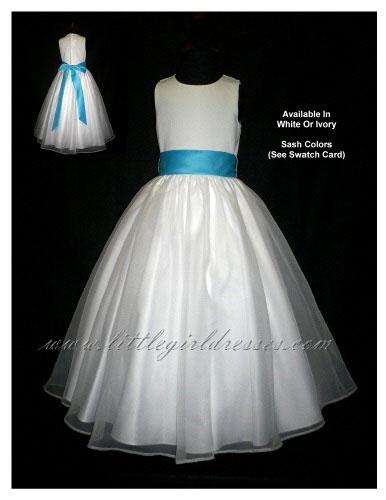 Flower girl dresses customized for budget conscious 2009 weddings flower girl dress in white with turquoise sash rf5101flower girl dresses from little girl dresses mightylinksfo