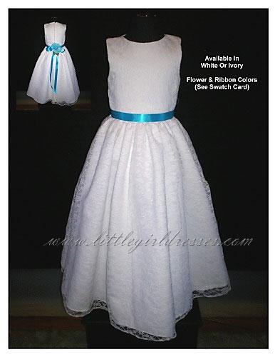 Flower girl dresses customized for budget conscious 2009 weddings flower girl dress in white with turquoise sash rf5108flower girl dresses from little girl dresses mightylinksfo