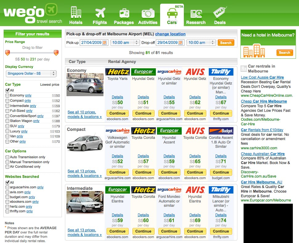 Travel Search Engine Wego Turns The Ignition With Car Rentals