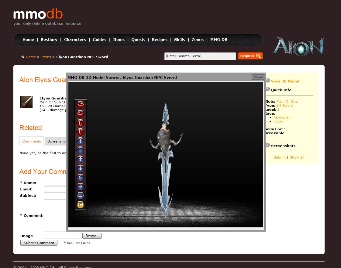 MMODB com Announces its Aion Online Database & 3D Model Viewer