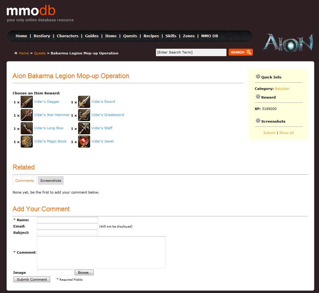 MMODB com Announces its Aion Online Database & 3D Model Viewer