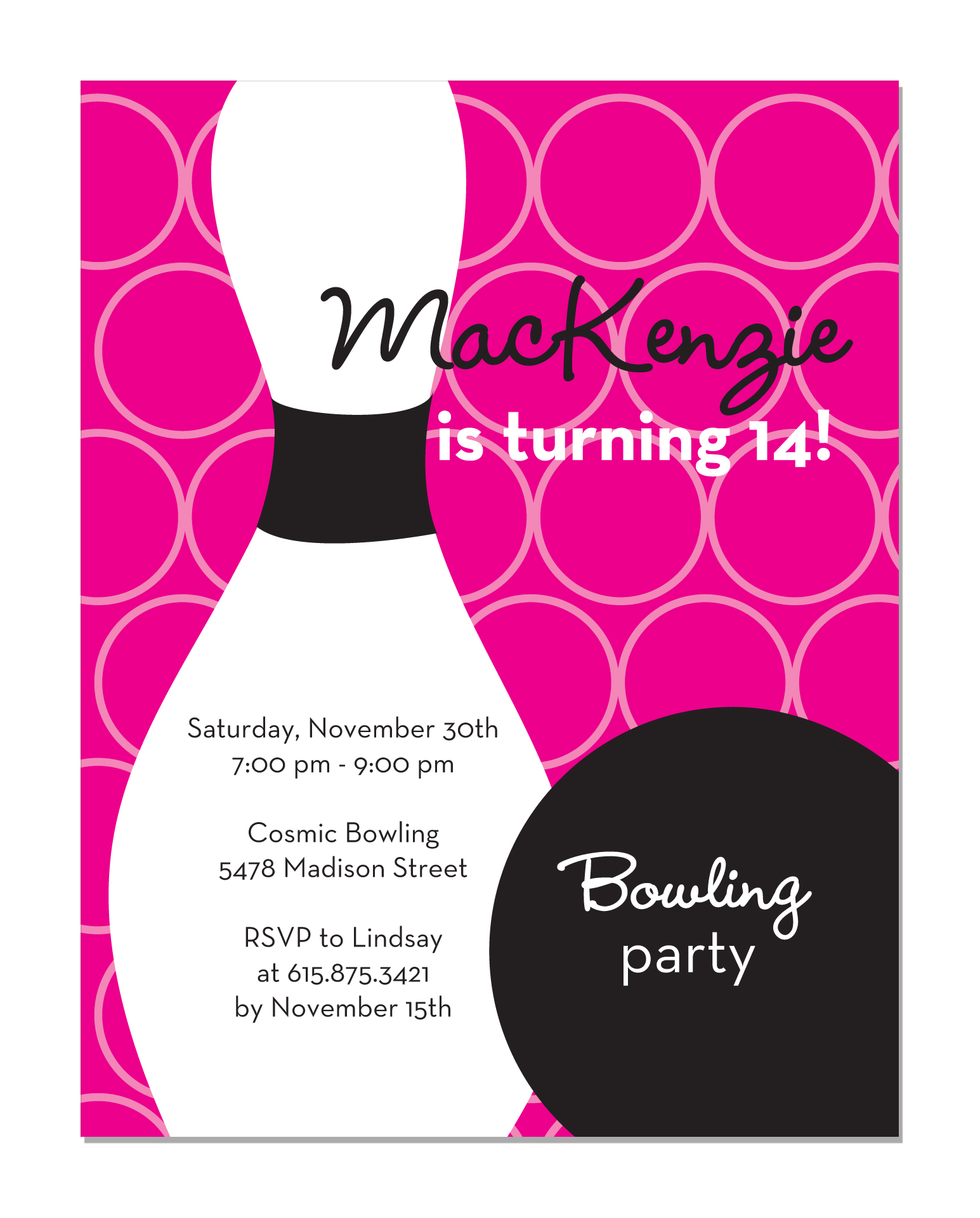 Superhero Birthday Party Invitation Lucky Strike Bowling