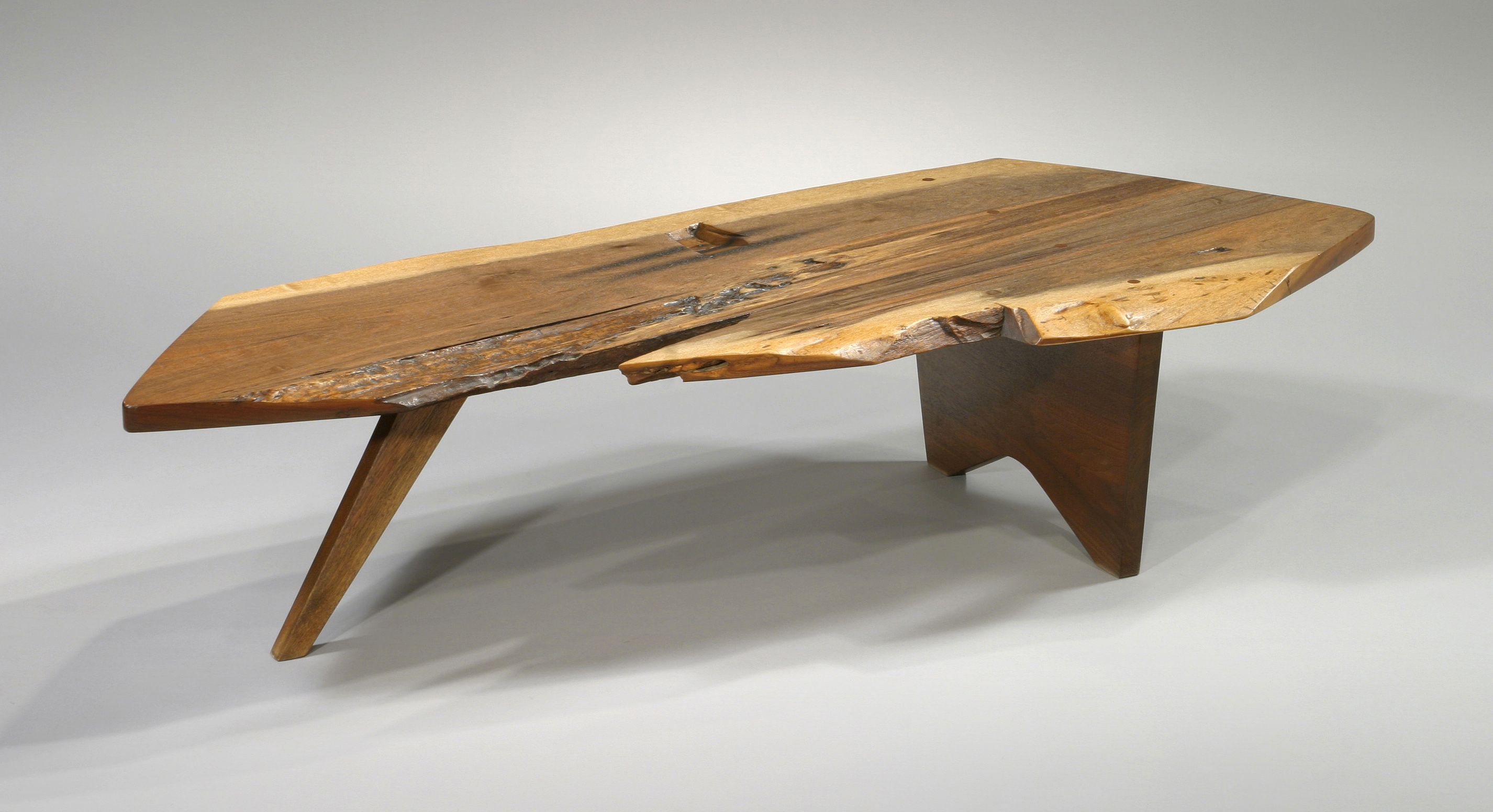 Slab I Coffee Table 1956, George NakashimaAmerican Black Walnut Note: Shows  Deep Cut And Burns Where Saw Broke During Sawing    History Of The Tree  Photo: ...