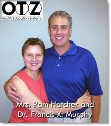OTZ founder and Dallas chiropractor Dr. Francis X. Murphy, developer of the non-surgical frozen shoulder syndrome treatment, with frozen shoulder patient.