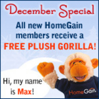 Realtors who sign up for a new HomeGain membership in December will receive a plush gorilla named Max!