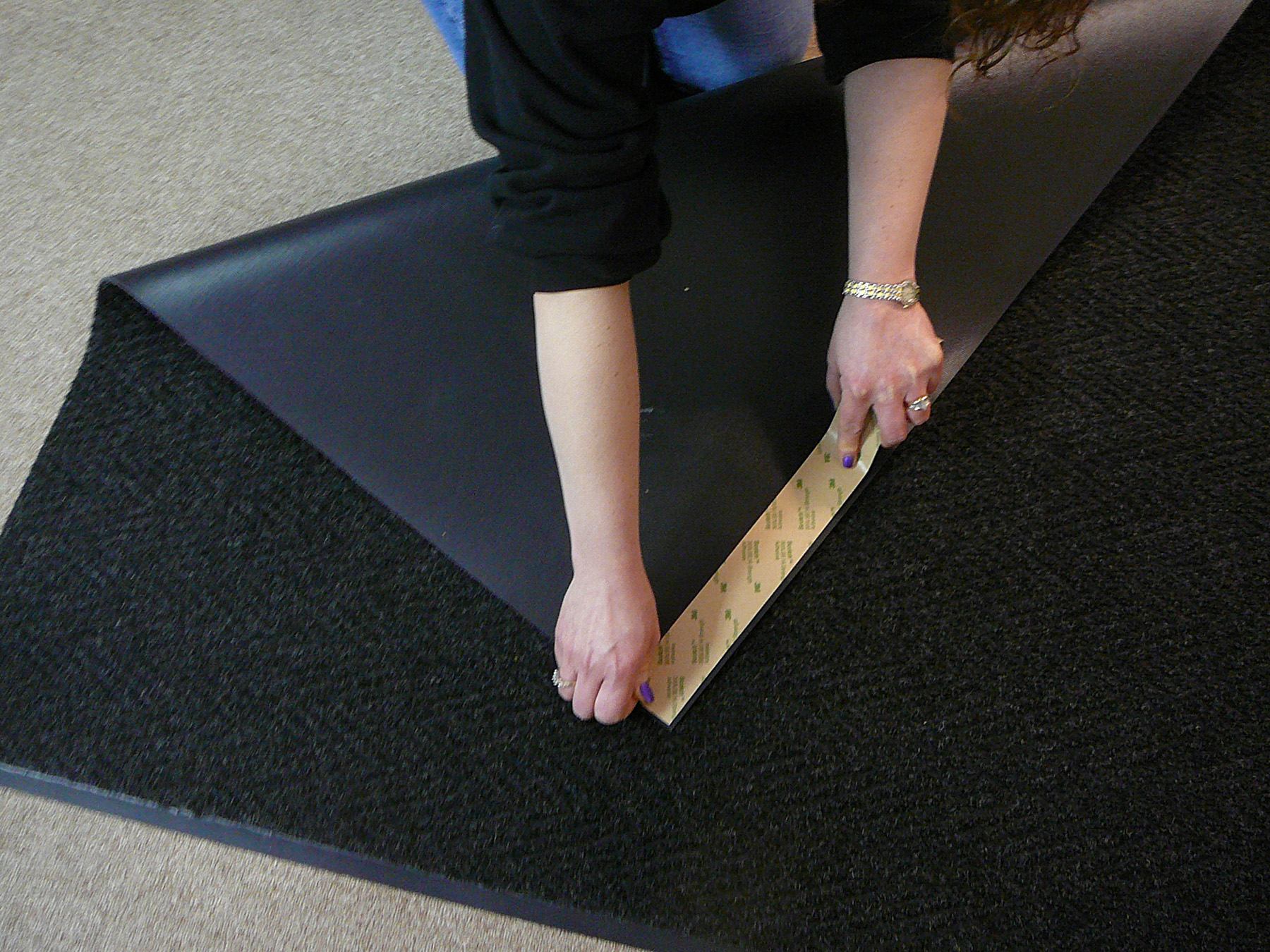 Stay In Place Matting Tapelied To The Vinyl Backing Of Floor Mats Tape Secures Interior Hard Floors Or Loop Piled Carpets