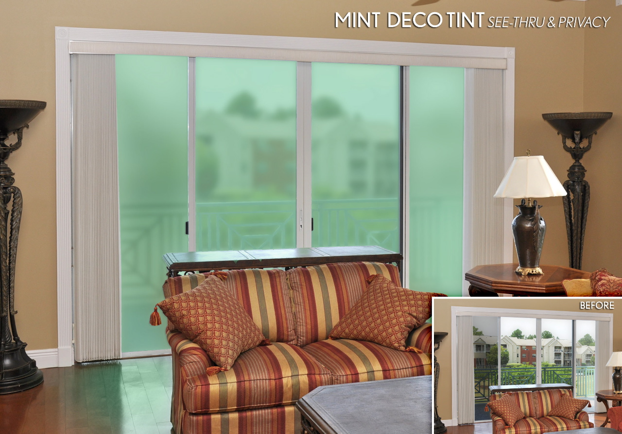 Sliding Gl Doors Decorated With Mint Privacy And See Thru Deco Tint Adhesive Free Film