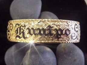 Silver Hawaiian Braceletcustom Made 8mm Bracelet With Your Name In Raised 14kt Gold Letters Flowers Accents Black Enamel