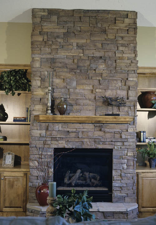 Gray Stone Fireplace Makeover