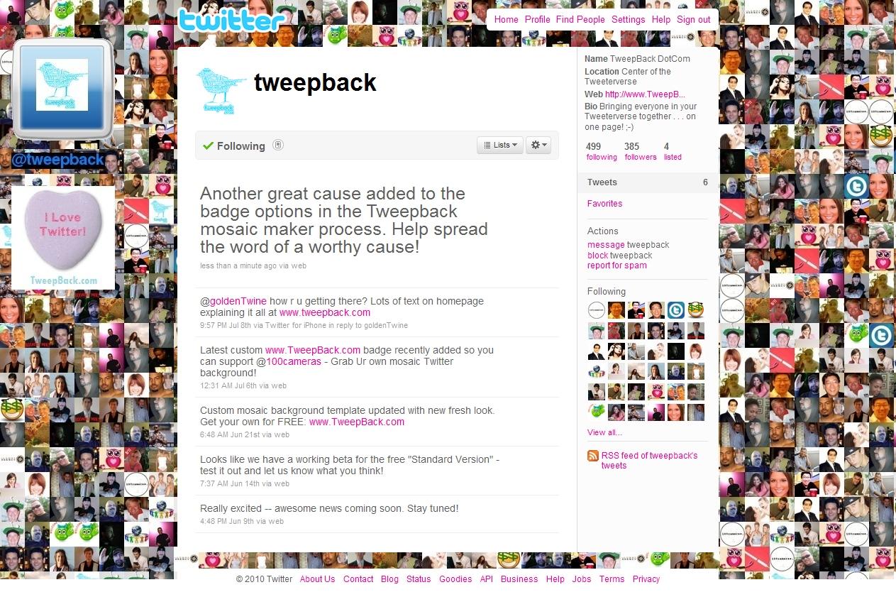 TweepBack com Generator Creates a Custom Mosaic Background Of Your