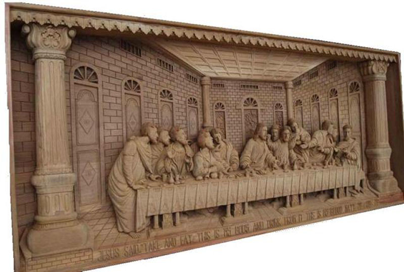 Tables Hand Carved Wood Relief
