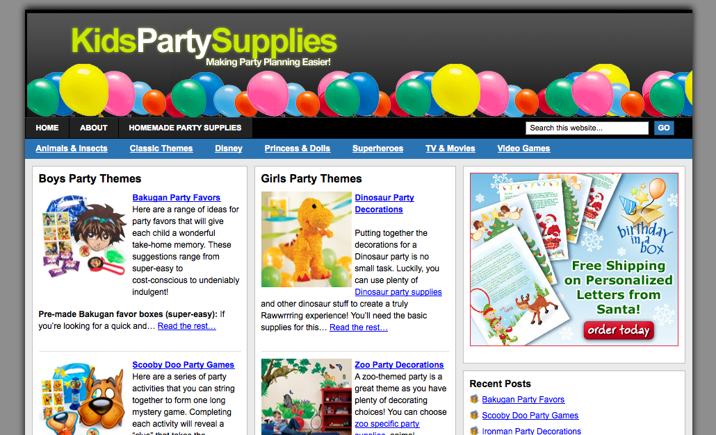 party planning web site