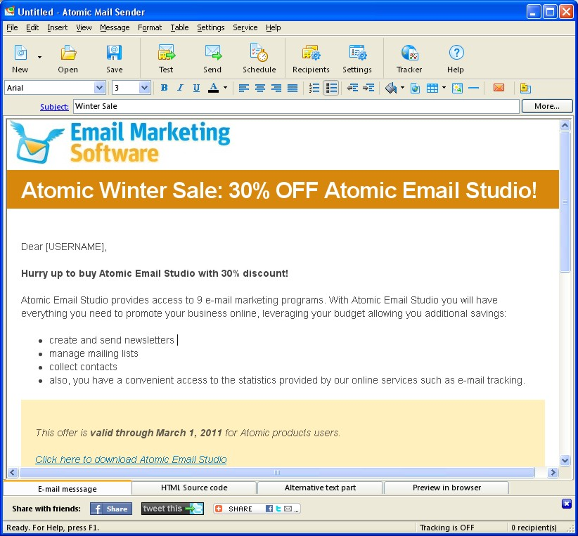 Email Marketing Software from AtomPark Comes with Free Email Tracking