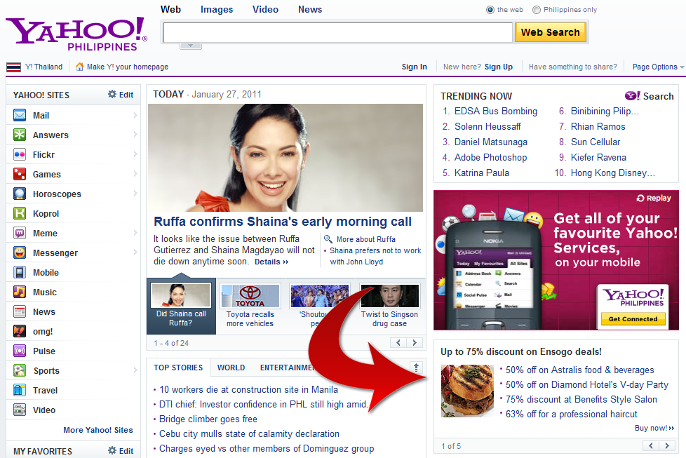 Ensogo.com.ph Offers Daily Deals on Yahoo! Philippines