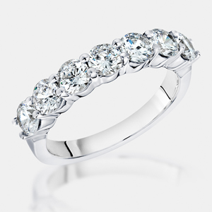 Seven Brilliant Round Cubic Zirconia Stones G Set In A 14k White Gold Band