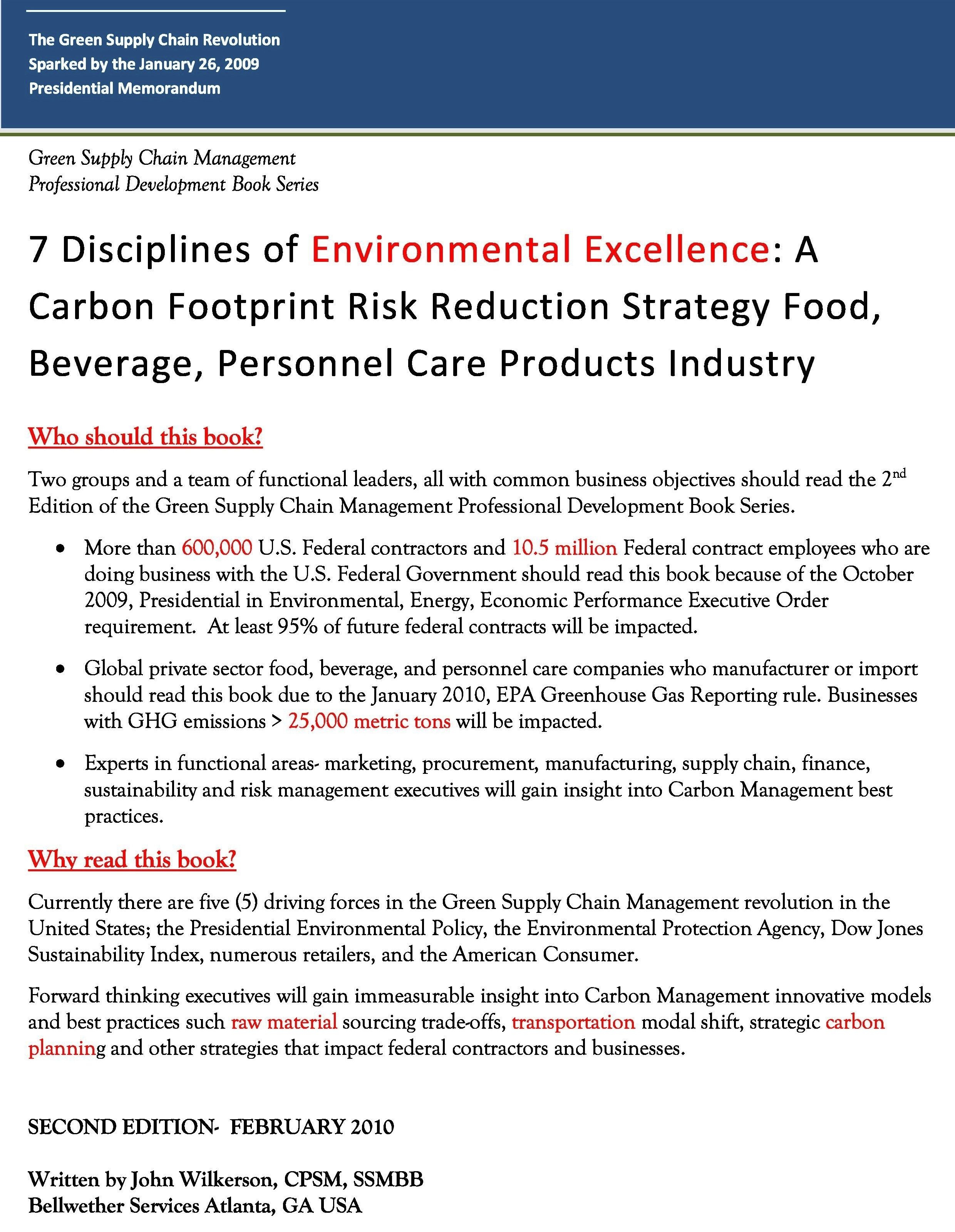 7 Disciplines of Global Supply Chain Environmental ExcellenceGreen Supply  Chain Management Book Series