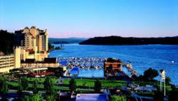View of Lake Coeur d'Alene with Coeur d'Alene Resort in the foreground; photo credit: Joel Riner/Quicksilver Studio