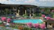 Artist's rendering of pool area at Fountaingrove Lodge