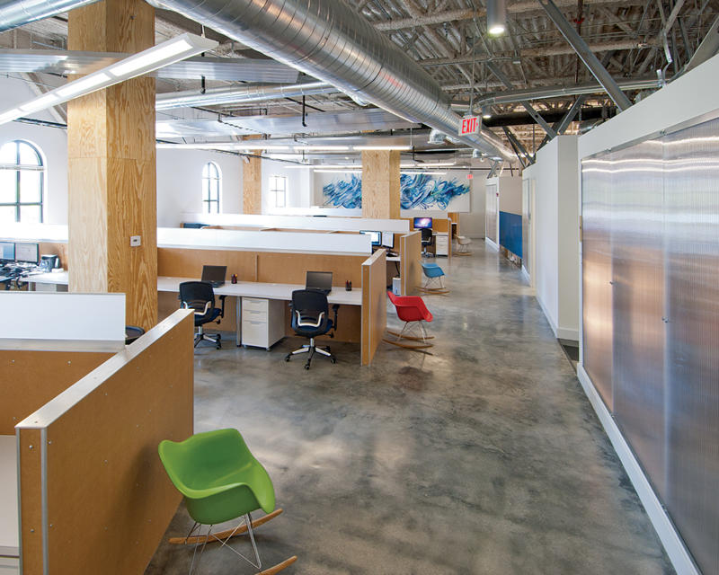 Designed By ADD Inc Miami BGTs New 30000 Square Foot Office Is Accented Rustic Industrial Finishes Mixed With Bright Pops Of Color