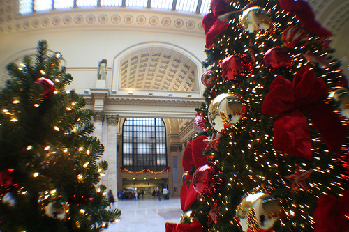 chicagos landmark union station partners with treetime and the salvation army to create a beautiful christmas display - Christmas Tree In Chicago
