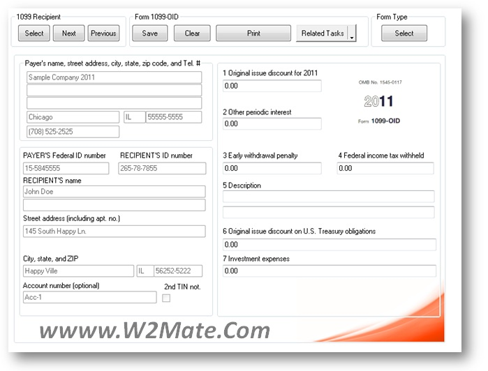 form 1099 oid inside w2 mate softwareprint and e file 1099 oid inside w2 mate software