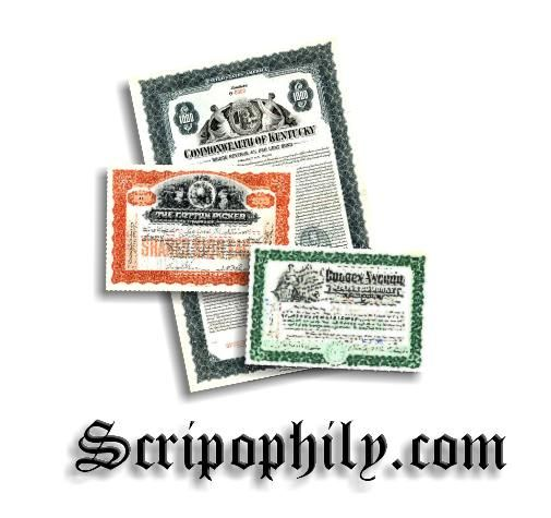 Scripophily.com Launches Websites to Purchase Paper United States ...