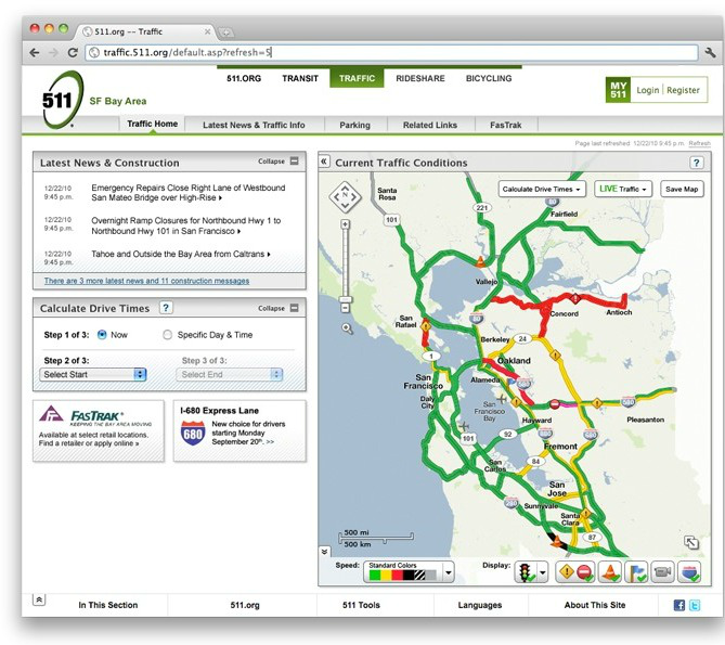 511 Org Traffic Map Bay Area Design Agency, Project6 Design, Completes User Interface  511 Org Traffic Map
