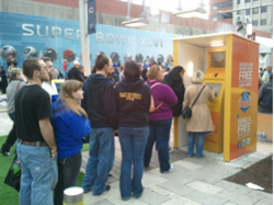 Fans line up to use the Video Recording Booth
