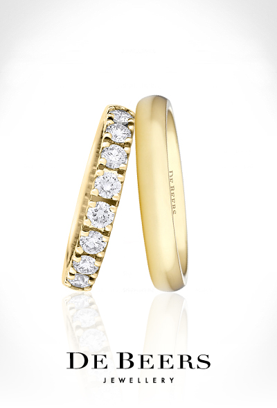 De Beers Aura White Diamond Band And Trio Stepped Edge Bands