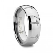 Catholic Tungsten Wedding Bands Religious Cross Rings