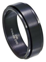 Black Stainless Steel Spinner Ring