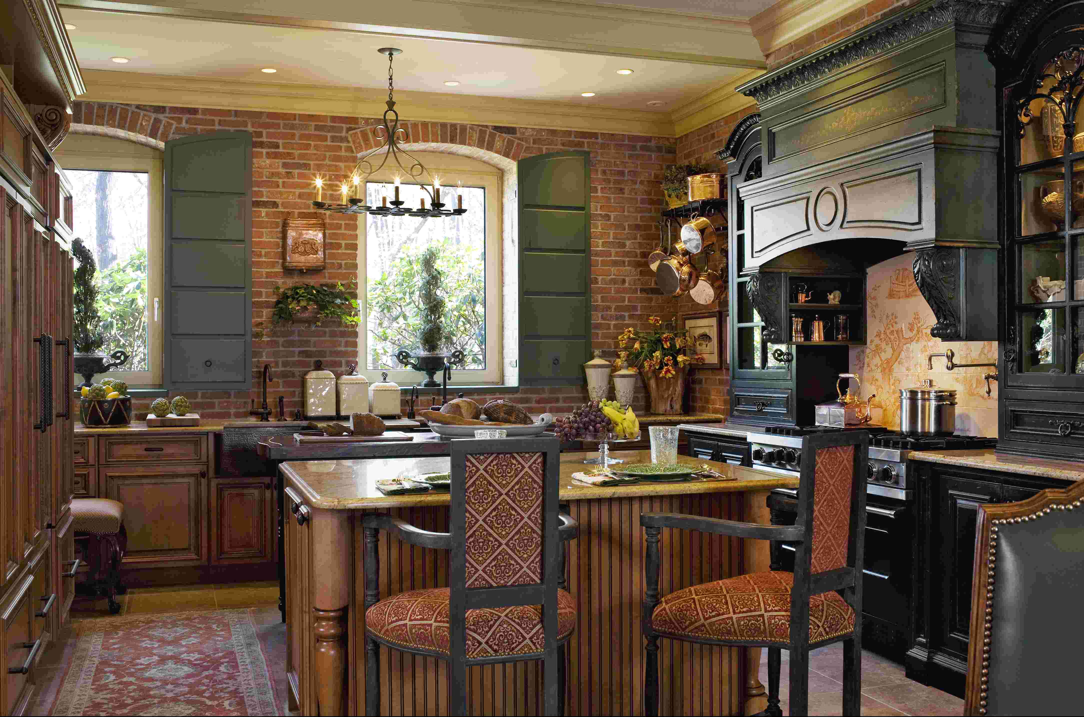 Authentically Styled French Country Kitchen With Exposed Brick Walls,  Shutters, And Custom Cabinetry And Millwork Reminiscent Of Antique  Furnishings And ...