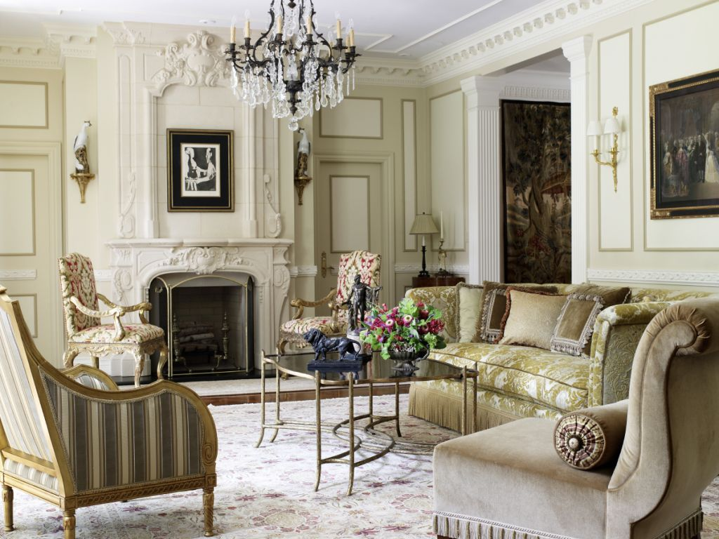 Living Room Complemented With Directoire And Regency Furniture And Gilded  Mirrors.