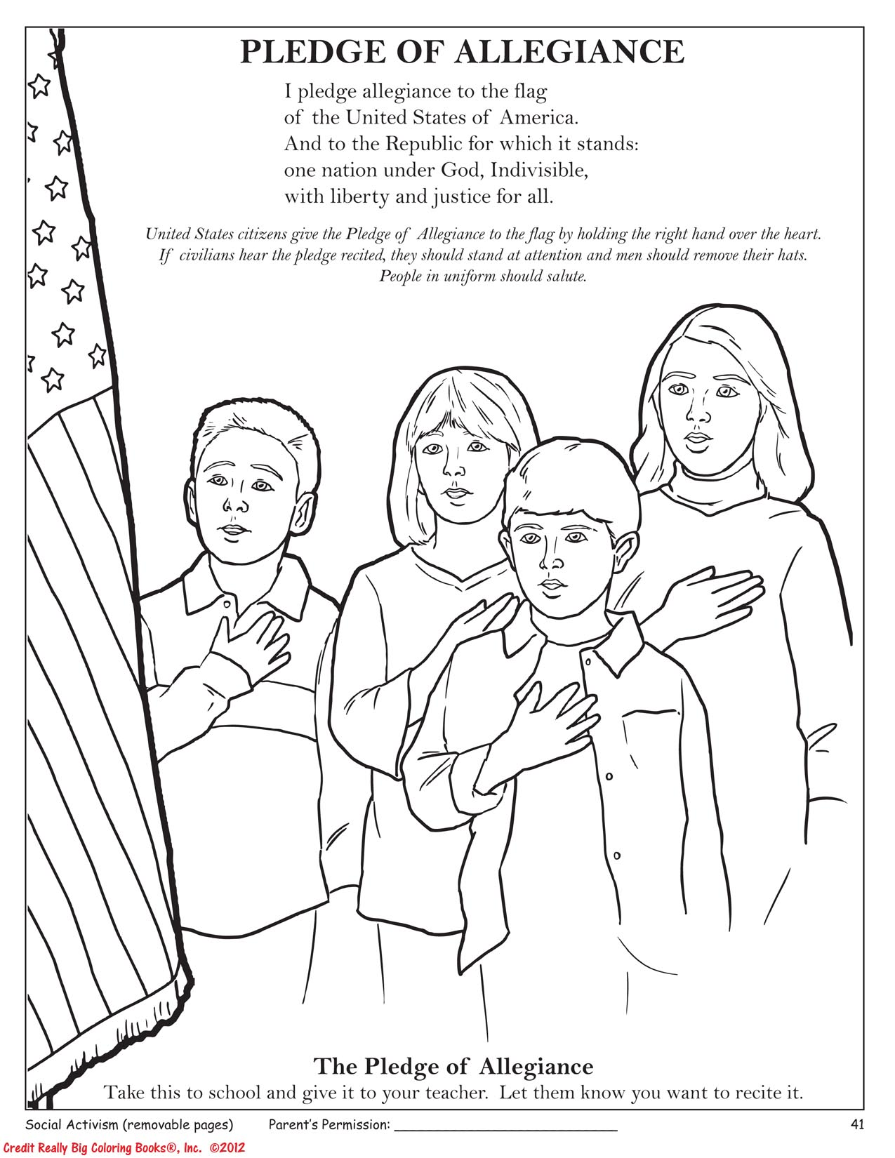 In the New Tea Party Coloring Book, a Page About the Pledge of Allegiance…