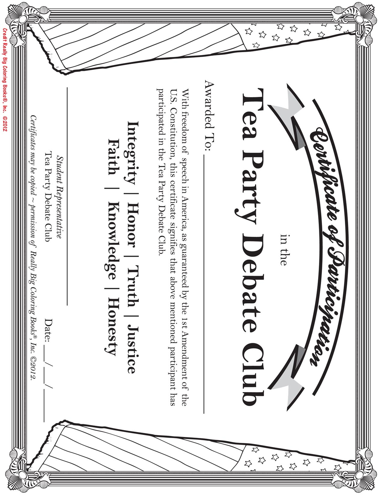 Certificate Of ParticipationThe Tea Party Debate Club