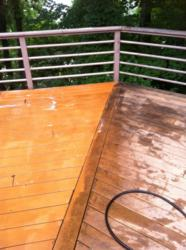 Composite Deck Being Cleaned With Wash Safe S Spray Clean Cleaner