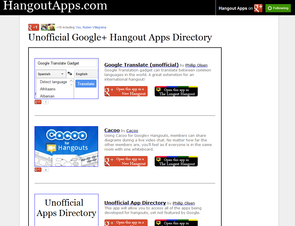 HangoutApps com launches as unofficial directory of Google+