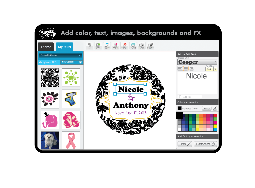 This is a graphic of Striking Create Your Own Sticker Labels