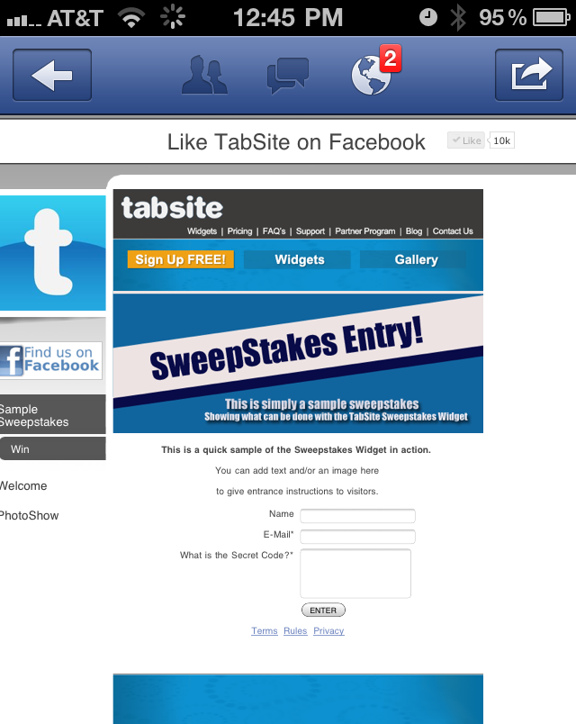 Facebook page tab mobile