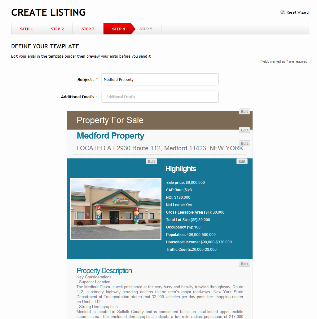 create email blasts using our templatesusers can now create commercial real estate related postings using easy and convenient templates
