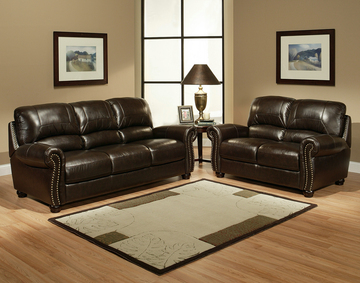 Monaco Dark Brown Leather Sofa Set ...