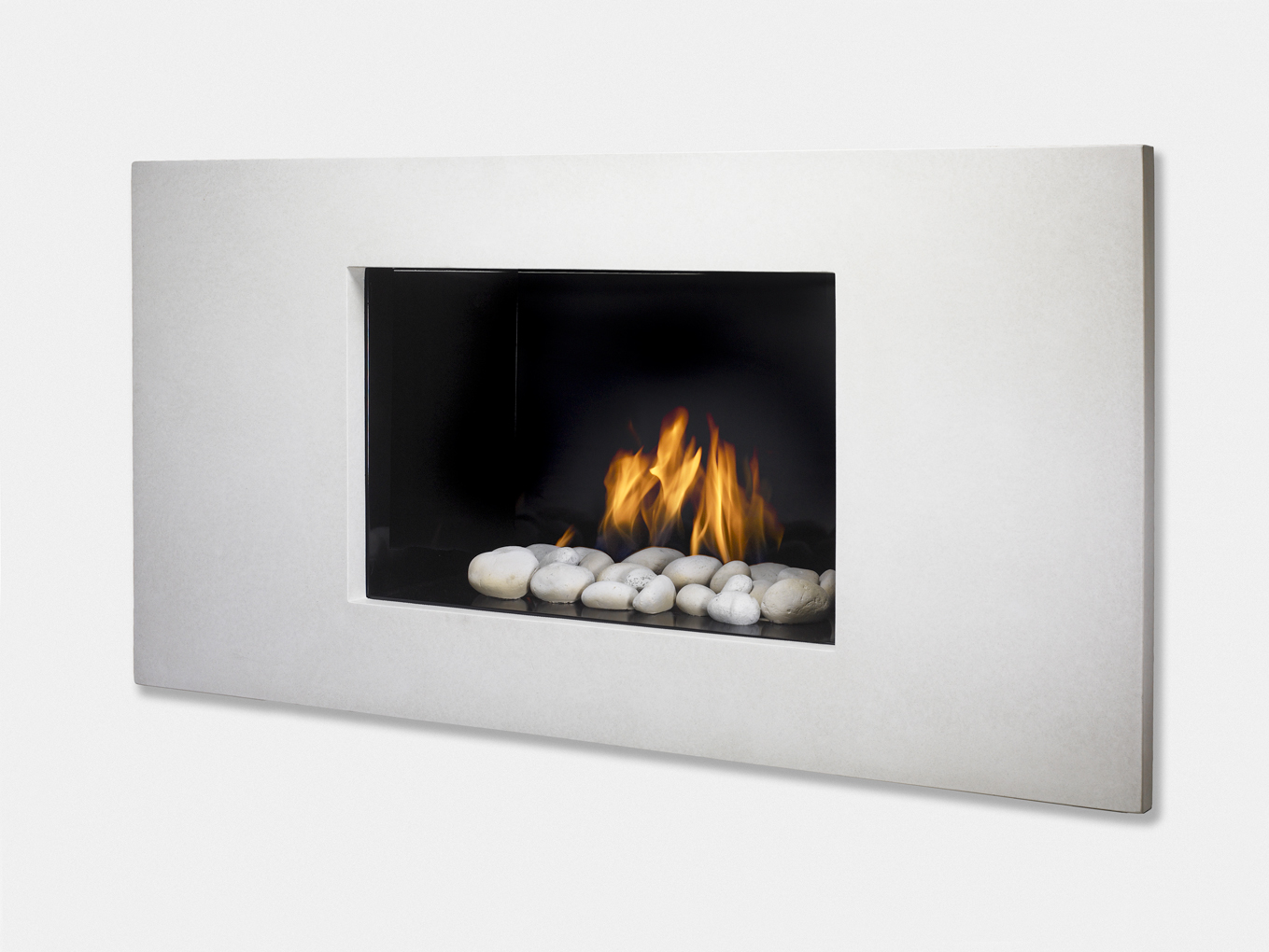 The Modern Vision Gas Fireplace Shown With Black Enamel Interior And White Surround Simplicity Of Clean Lines Combined Gives