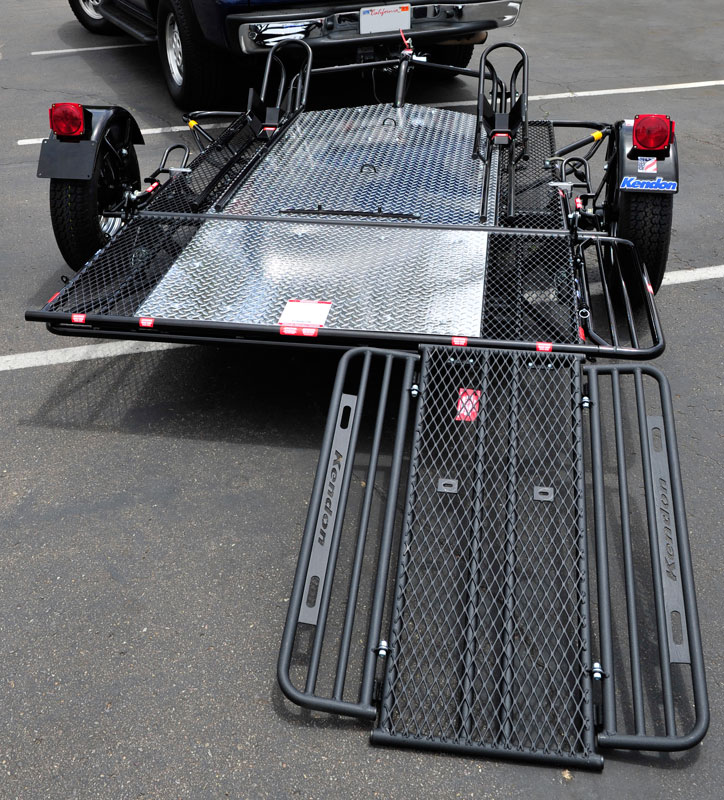 trailer motorcycle ramp dual kendon ride srl trailers loading folding stand kit rail retrofit bike motorcycles attached ramps designed drop